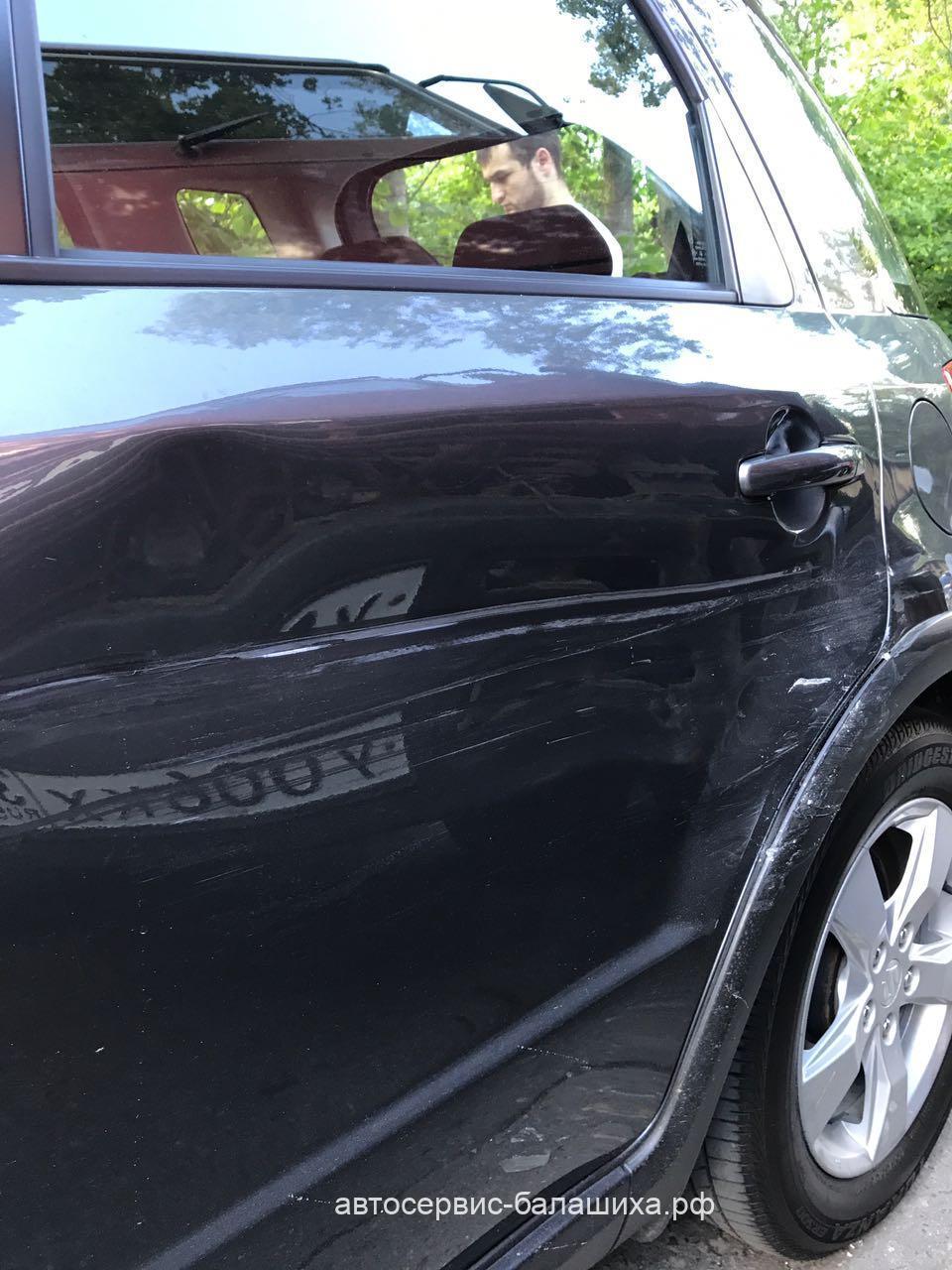 Suzuki SX4 2010 года кузовной ремонт задней левой двери и крыла